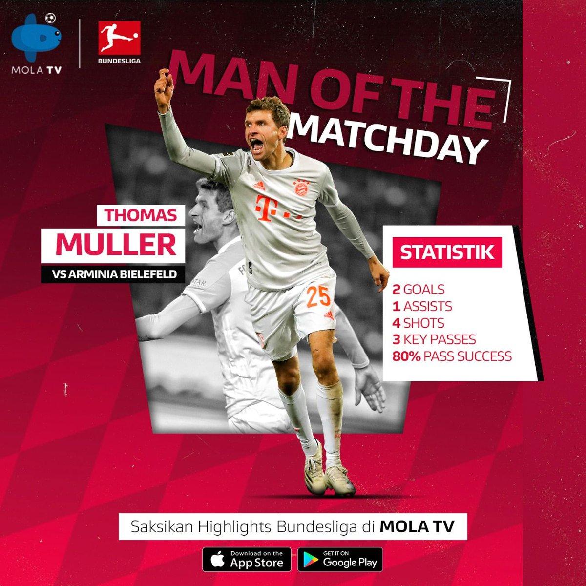 Kontribusi besar Thomas Mueller saat Bayern menumbangkan Arminia Bielefeld, menjadikan pemain satu ini mendapat predikat Man of the Matchday 4 Bundesliga 2020/21.  Saksikan ulang aksinya di laga Arminia vs Bayern, hanya di Mola TV!  https://t.co/4xiF5RlSJJ  #BundesligadiMolaTV https://t.co/gl0jc1icol