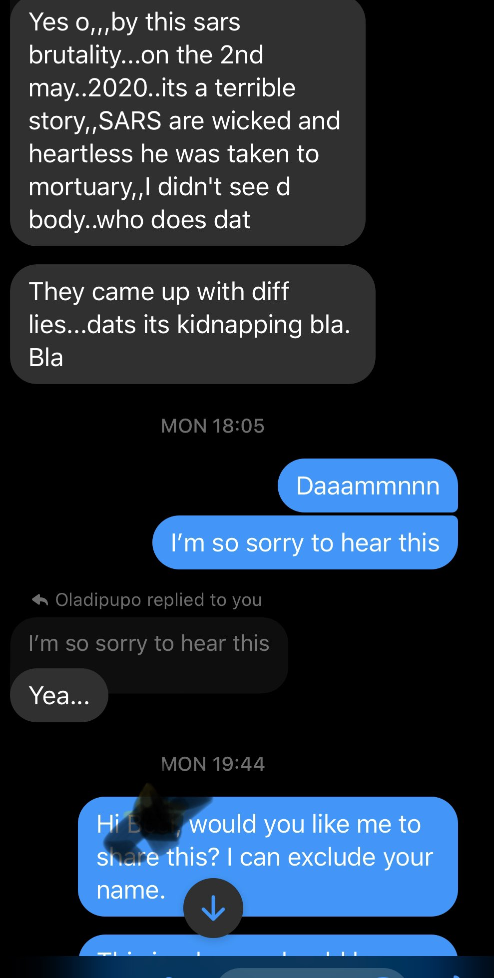 A man reveals the chat of how his friend hubby was murdered by SARS and seized the corpse