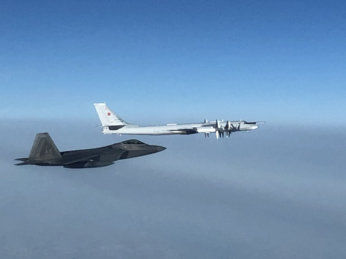 North American Aerospace Defense Command F-22 fighter aircraft, supported by E-3 airborne warning and control system and KC-135 refueler aircraft, intercepted two Russian Tu-95 bombers escorted by two Su-35 fighter aircraft late Monday evening. #WeHaveTheWatch @usairforce