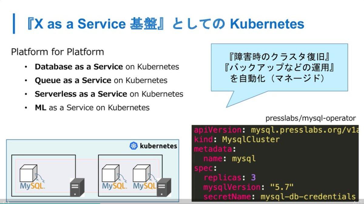 @enakai00 @Yuryu このへんの文脈ですかね。コンテナ + Kubernetes Operatorで迅速、柔軟な基盤づくりができるというのが強みだと思ってますref.  @amsy810