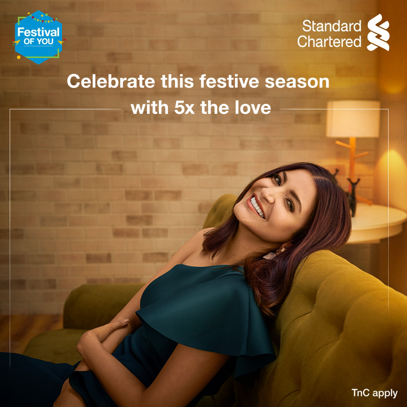 Bring in the joys of this festive season with your Standard Chartered credit card and enjoy 5x the rewards! This season celebrate the #FestivalOfYou. Offer valid from 16 Oct - 22 Oct 2020  To know more,  #FestiveSeason #StandardChartered