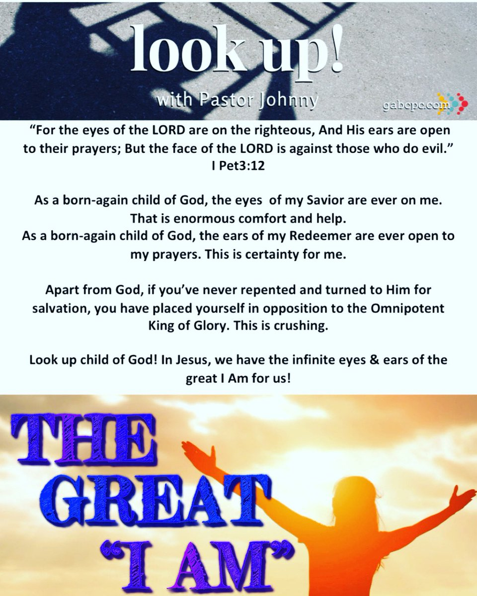 THE GREAT 'I AM'.  @goldenacresbc #thegreatiam #gabcpc #drjohnnyellison #lookup #childofgod #1peter #devotional #devotion #bible https://t.co/tRM37V4SMp