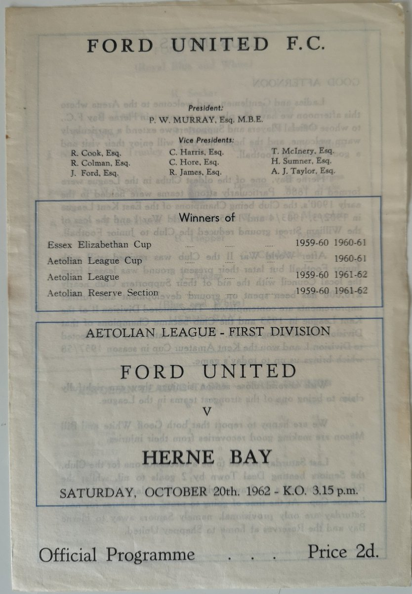 @NonLgeProgs  #FProgs   OTD 1962, @HerneBayFC travelled to face #FordUnited in an #AetolianLeague Div I game which ended 0-0.  That season #TheBay finished in 3rd place, one above Ford on goal diff.   Ford, now #RedbrdgeFC & play @EssexSenior @TheMotormen https://t.co/RTksUCPV2C