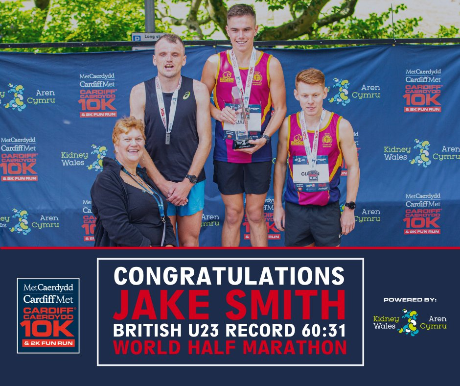 Congratulations to Jake Smith on a world-class performance in the #WorldHalfMarathon to go 3rd in the all-time British rankings, and breaking the British u23 record 6️⃣0️⃣:3️⃣1️⃣⏱️ Shoutout also to awesome coach Mr James Thie. 😎👍❤️ #KeepRunning