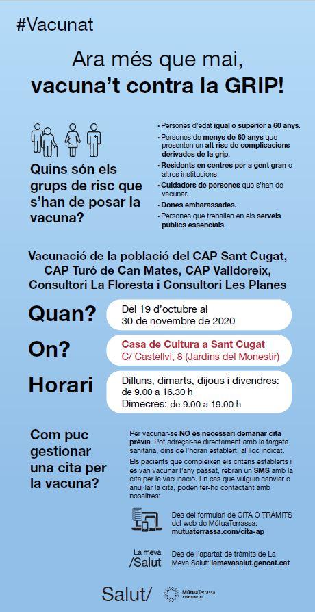 🤧Ara més que mai, VACUNA'T contra la GRIP!  🗓️Del 19 d'octubre al 30 de novembre a la Casa de Cultura de #SantCugat   @GemmaAristoy @salutcat @Mutua_Terrassa @centrescultura