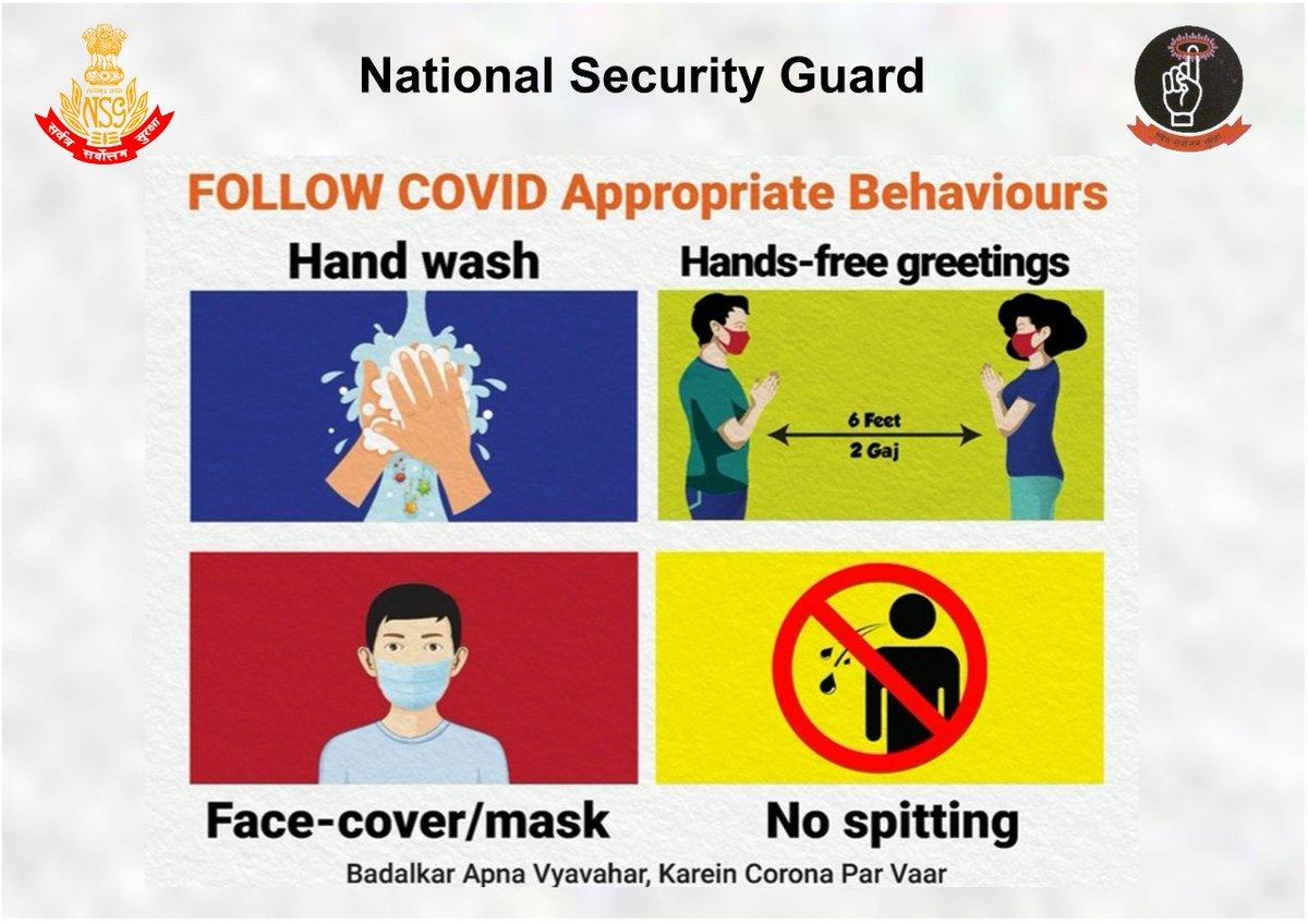 NSG : -सर्वत्र सर्वोत्तम सुरक्षा #Unite2FightCorona #IndiaFightsCorona Wear Mask Wash hands Follow Social distancing:- Do Gaj Ki Doori