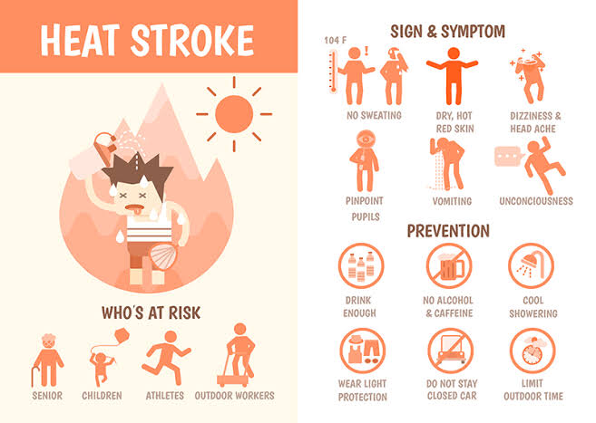 🌡️ #Heatwave Heat exhaustion VS heat stroke:  🥵Heat exhaustion is usually accompanied by excessive thirst, nausea, weakness, muscle aches, heavy sweating, slow heartbeat dizziness.  🥵Heatstroke may develop following heat exhaustion if the condition is not treated. https://t.co/vZXn84LAsI