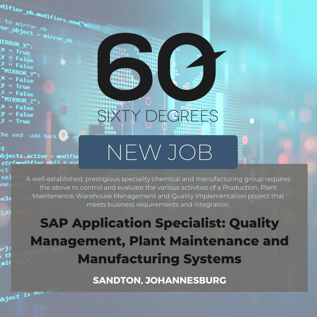 test Twitter Media - New #JobAlert - SAP Application Specialist: Quality Management, Plant Maintenance and Manufacturing Systems in Sandton, Johannesburg  For more information & to apply, please click on the link below;  https://t.co/ZNGYmK3PwL  #60Degrees #60DRecruiter #60Droles #SAP https://t.co/eh1x4KvyiM