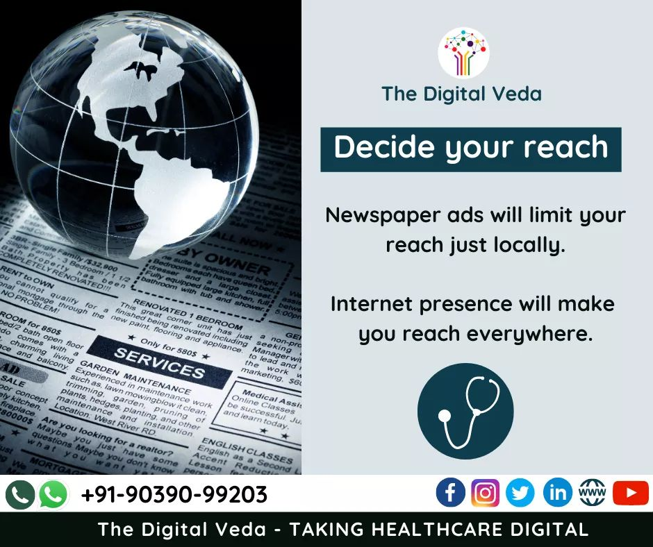 A doctor or healthcare setup has 2 options for increasing market reach ! Traditional or Digital(where most of the users are these days)  Decide where you want to put your money then Reach out to us at https://t.co/ehwV4T45JV #Digital #innovation #makeinindia #Ayurveda #healthcare https://t.co/2E7ZPIbsXL