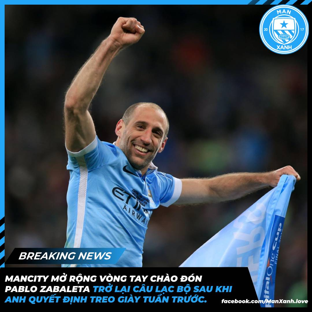 #ManCity are open to Pablo Zabaleta returning to the club following his retirement last week.  City would welcome the Argentine back should he decide to pursue a career in the game beyond playing.   [@Jack_Gaughan]  👍#ManXanh💙#ManCityVietnam #Zabaleta #ManCity #MCFCVN #MCFC https://t.co/H5u0MEfW8I