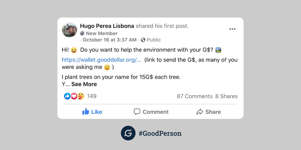 Got 5G$? #GoodPerson Hugo will plant a tree for you in Spain (and send you updates as it grows!) Another real-world example of how to do #good with your #crypto, because its #2020 and we need this more than ever. Read more: https://t.co/q1UlvixzVv  #basicincome #defi #tech4good https://t.co/cT0DcUmQlQ