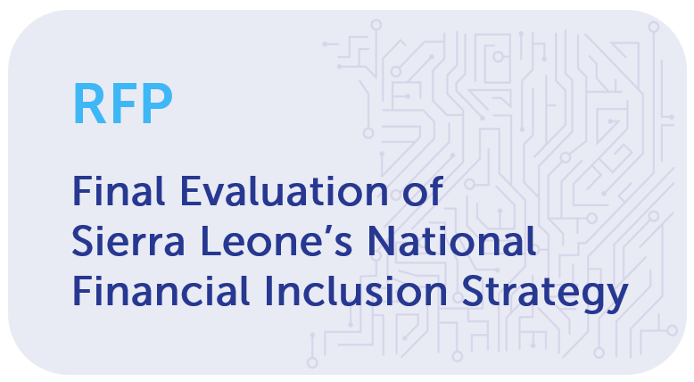 Request for Proposals  We are looking for a partner to conduct an evaluation of Sierra Leone's National Strategy for Financial Inclusion. Apply by 26 Oct. More info: https://t.co/TuS5o9Y06l  #RFP #SierraLeone https://t.co/KE1wwwqh8h