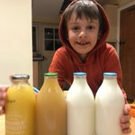 Our Year 5 children are continuing in their quest to reduce single use plastic at school and at home. Huey is helping his family reduce their use by changing to milk and juice in glass bottles - here he is with their first delivery. #greenteam #ecoschool #plasticpollution