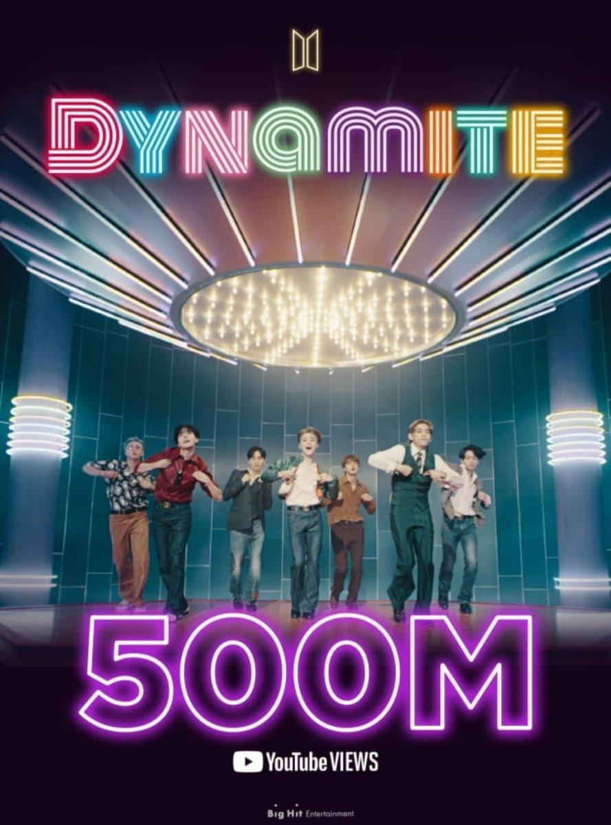 """DYNAMITE MV"" just hit over 500 MILLION VIEWS on YouTube!!!! CONGRATULATIONS MY KINGS @BTS_twt 🥳💜😭🤞🏻💕👑🥺 #BTS #BTSARMY #BTSXARMY #KIMNAMJOON #KIMSEOKJIN #MINYOONGI #JUNGHOSEOK #PARKJIMIN #KIMTAEHYUNG #JEONJUNGKOOK  #BTS_Dynamite https://t.co/ugVqsVOhTe"