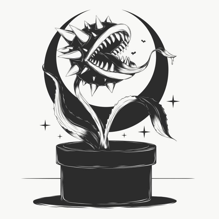 #Inktober DAY 18 - Trap by BlackBirdillu - https://t.co/8Y4vtr3vD7 via @insprade #inspirationde #Art #BlackAndWhite #Dark #Fanart #Illustration #Mario https://t.co/5CRoRARttL
