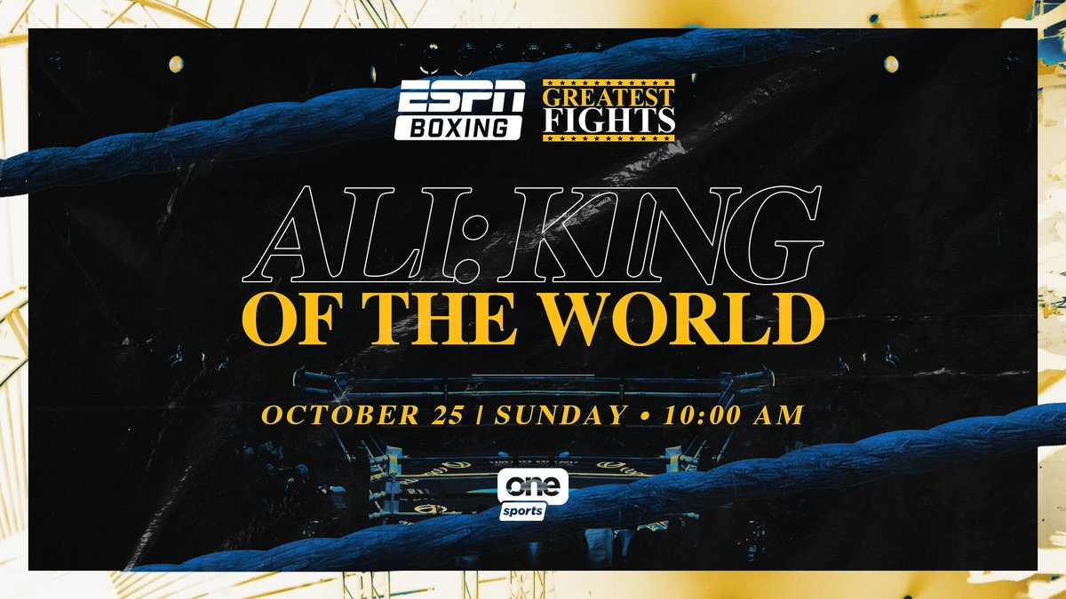 #ESPNBoxing Greatest Fights presents:   Ali: King of the World  📅 October 25 ⏰ 10 a.m.  📺 @OneSportsPHL https://t.co/DEY2FAoMaM