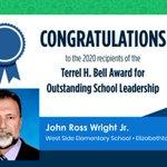 Image for the Tweet beginning: Congrats to #TNprincipal John Ross