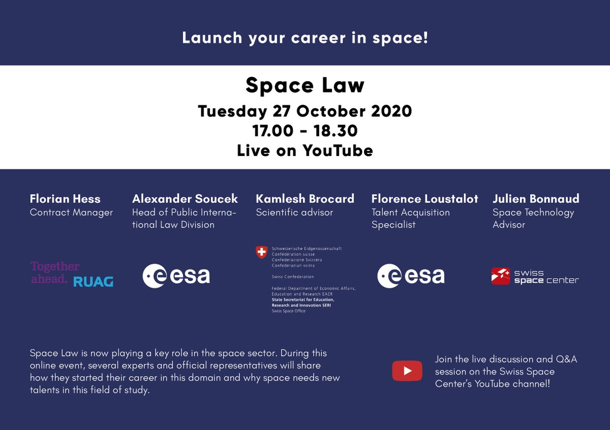 Career Event - #Law in the Space Sector 🧑⚖️ Next Tuesday we will welcome several law experts now working for space. Join us to hear their experience & learn how they entered this field! In the presence of @esa, @RuagSpace and @SBFI_CH #CareerInSpace. bit.ly/34f4bR2