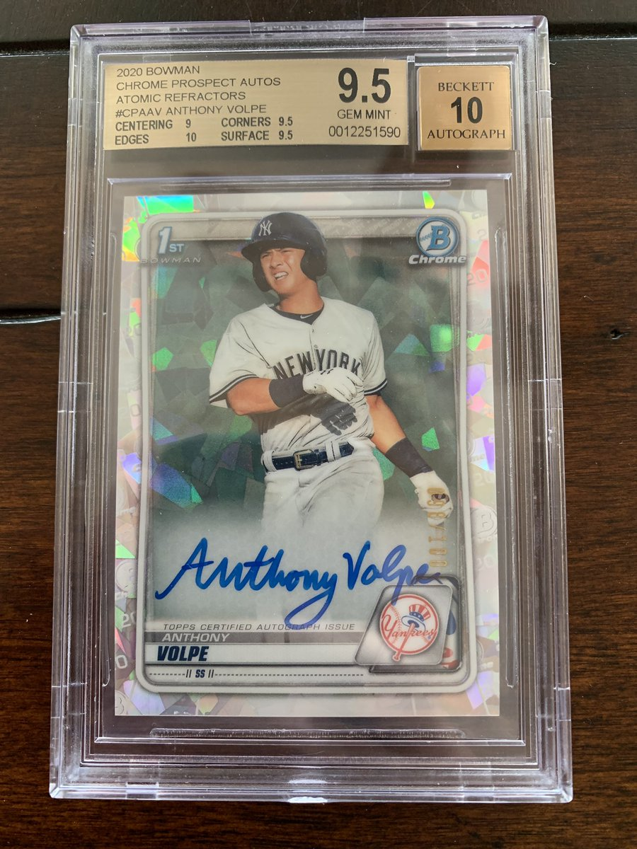 2020 Bowman Chrome Anthony Volpe Rookie Atomic Refractor Autograph /100 BGS Gem Mint 9.5! $300 shipped BMWT @HobbyConnector @OnReplin #baseballcards #Yankees @linkmycard @24_7SportsCards @collectorconn19 @CollectTheGame @mlbhobbyconnect @Hobby_Connect  RT's Appreciated! https://t.co/k6KhLsen3e