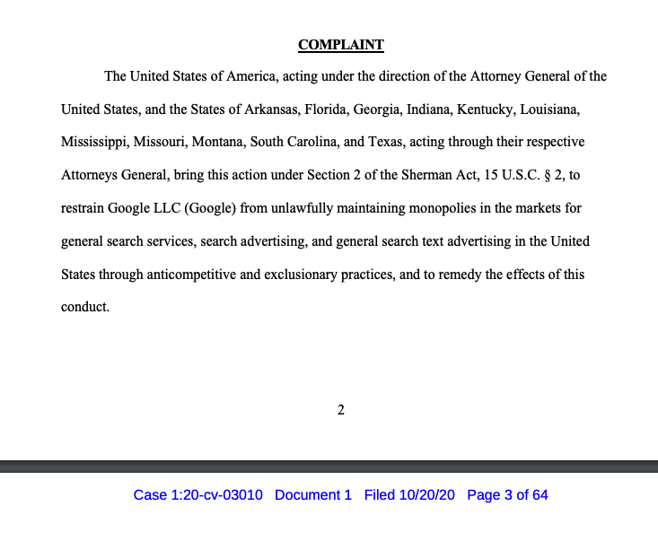 DOJ's antitrust suit against Google has been filed in federal court in DC, here's the complaint: https://t.co/NQL8XhHInA https://t.co/pFeiOoRFzE