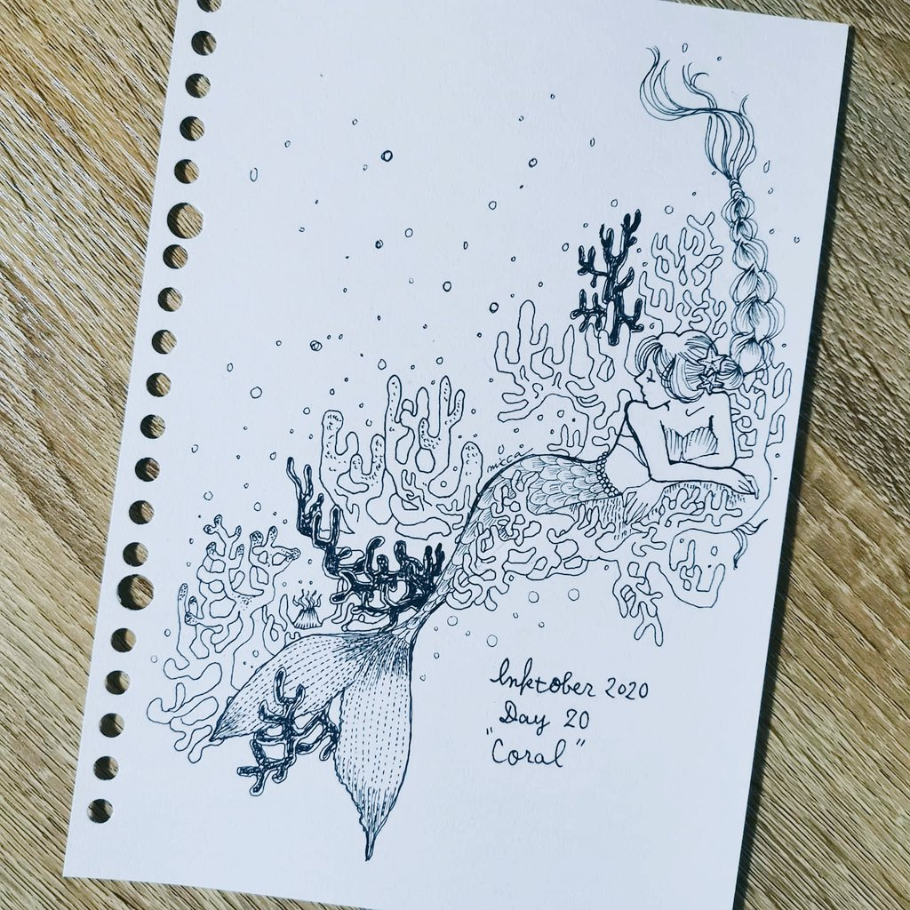 "#inktober2020  * Day20""CORAL"" 珊瑚のベッド✨ ✏️ @kuretakejapan ZIG Cartoons MANGAKA003/005/05 * #kuretake #kuretakezig #kuretake_inktober #pencildrawing #analogillustration #coral #人魚姫 #珊瑚 #ペン画 #インクトーバー2020 #アナログイラスト https://t.co/2PhNWmCAnb"