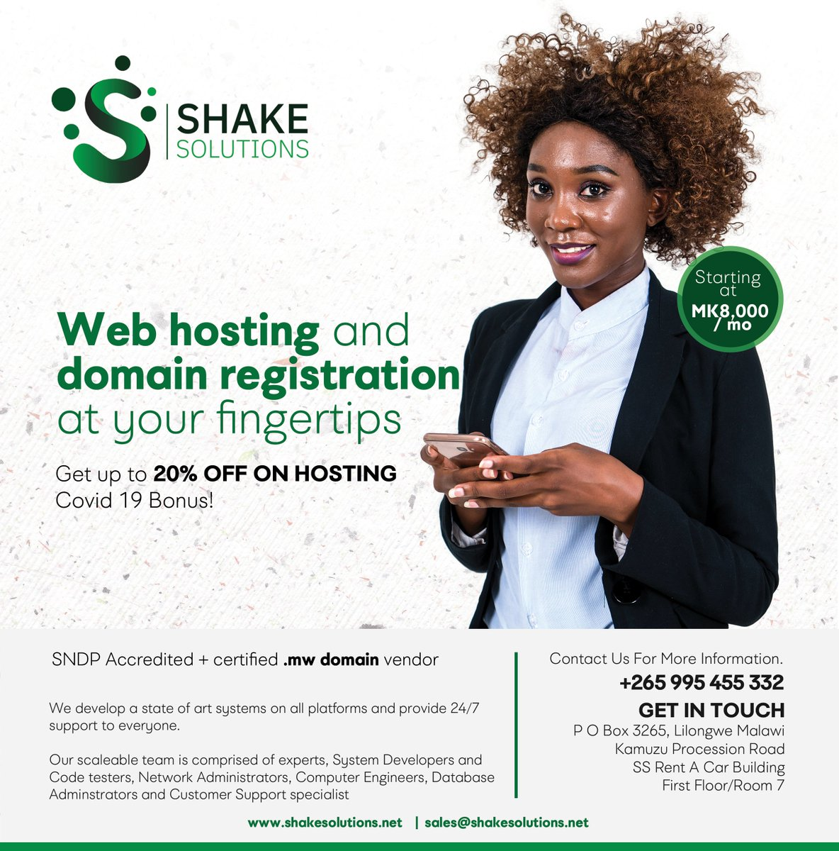 Host your website with us today and get a 20% discount on our hosting packages. Don't let Covid19 slow down your business. Get a package of your choice at a lower price and get a bonus of 24/7 online support.  #Webhosting #Discount #Malawi #Shakeitup #Digitalmarket  #Bonus https://t.co/4SQMqjhujp