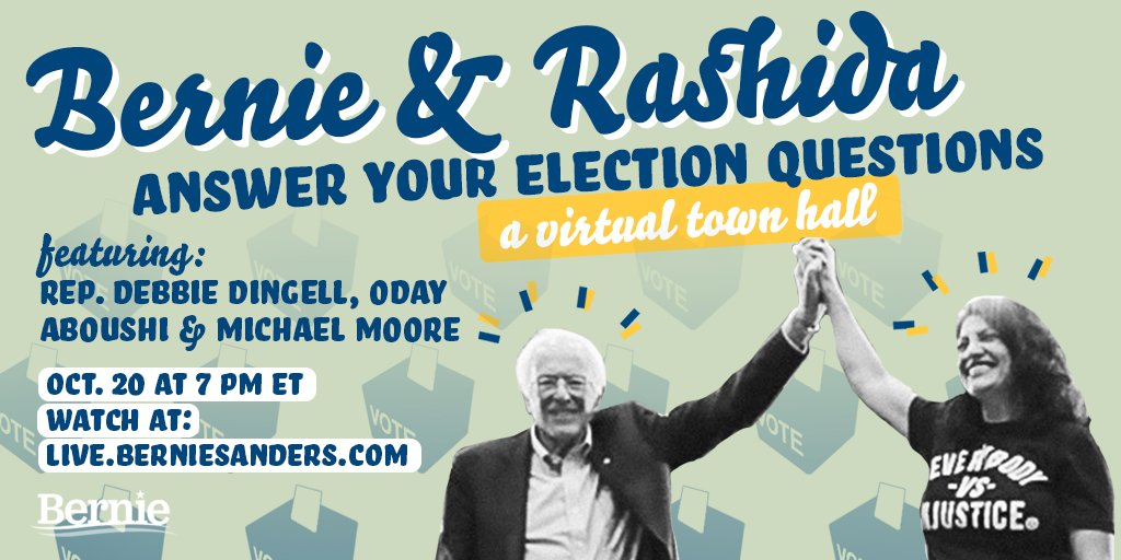 Together, we can win Michigan, defeat Donald Trump, and create a country that works for all of us, not just the 1%. Join me and @RashidaTlaib today at 7 p.m. ET for a virtual town hall with guests @DebDingell, @Oday_Aboushi75 and @MMFlint. Watch at live.berniesanders.com.