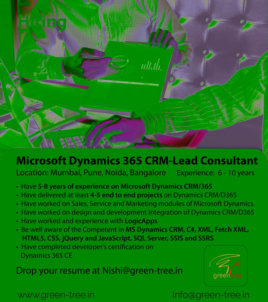 #WeareHiring Microsoft Dynamics 365 CRM-Lead Consultant  Follow #Greentree for daily Job updates! #CRM #erp #microsoftazure #microsoftdynamics #crmsoftware #crmintegration #crmsystem #salesforce #salesforcecrm #crmsolutions #crmjobs #dynamics365 #dynamics365crm https://t.co/76PYvypqjB