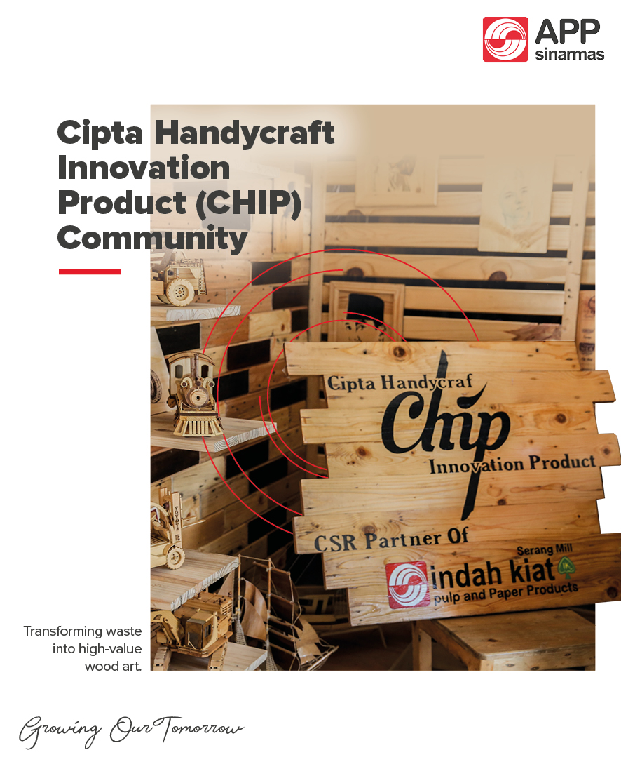 Examples of the many wooden handicrafts made by Suherman and his friends at CHIP. Their business started when he joined the #CSRProgram of #IndahKiatSerang, inviting communities to utilize its wood waste. CHIP transformed the left-over material into valuable works of art! https://t.co/lBtoA3BMeD