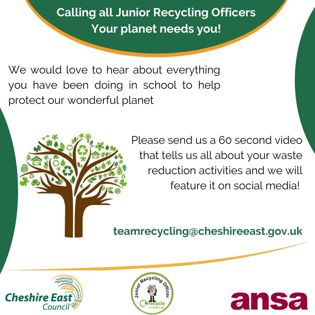 We would love to hear about everything you have been doing in #school to help protect our #planet. Please send us a 60 second video that tells us all about your #waste reduction activities! #CheshireEast #recycling teamrecycling@cheshireeast.gov.uk https://t.co/cOHLqK7vzq