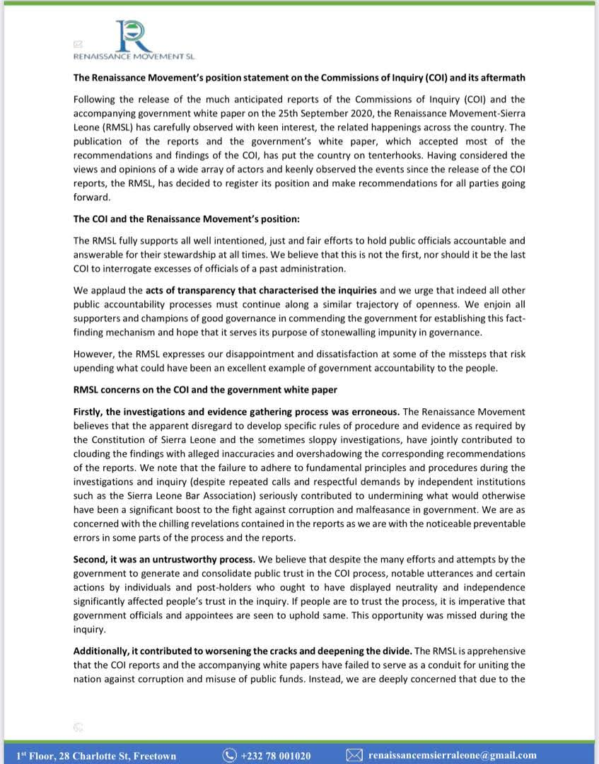 Today, the Renaissance Movement published its position statement on the Commissions of Inquiry (COI) & its aftermath. Please read the full statement here to see the Movement's concerns and its recommendations. https://t.co/gEcCXjcPNP