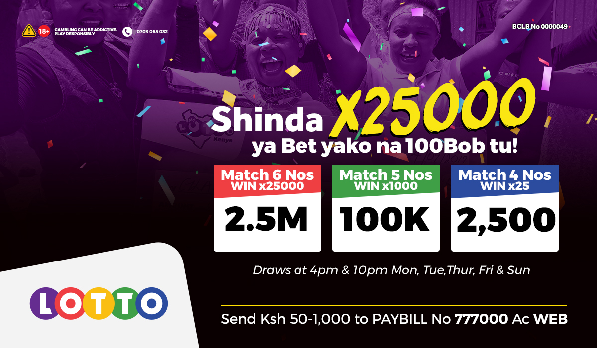 Cheza na 100 bob ushinde 100K @10pm and get paid INSTANTLY into your Mpesa. Cheza Lotto upate free entry kwenye Mashujaa Jackpot ya October 24th. Mpesa SH 100-1K to Paybill 777000 AC WEB https://t.co/t395HXkRxW
