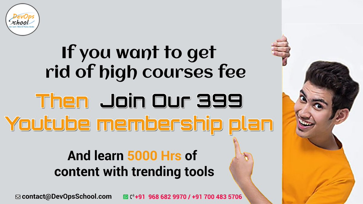 If you want to Get rid of high course fees - JOIN our 399 youtube membership plan and learn from 5000 hrs of DevOps + DevSecOps + SRE demo based sessions. 👉 Join Now: https://t.co/xLNMLYVRcc  #DevOps #AWS #Docker #Kubernetes #Chef #Git #Ansible  #DevOpsSchool  #DevSecOps #SRE https://t.co/BkL1xc1lD2