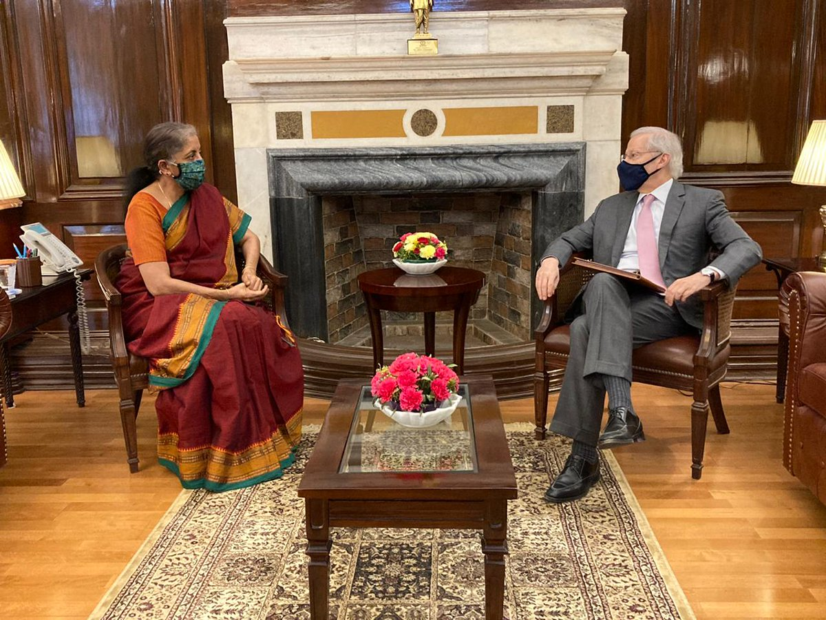 H.E. Mr. Kenneth Juster, Ambassador of the United States of America to India calls on Smt @nsitharaman