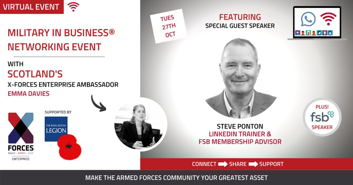 XFE Ambassador for Scotland, Emma Davies of @JointForceAlba will host a Military In Business® Virtual #Networking Event on 27th October. This is a great opportunity to meet like-minded people from the #ArmedForces business community, so register free now: https://t.co/qx4yDwJUKn https://t.co/rAkBIJgNQs