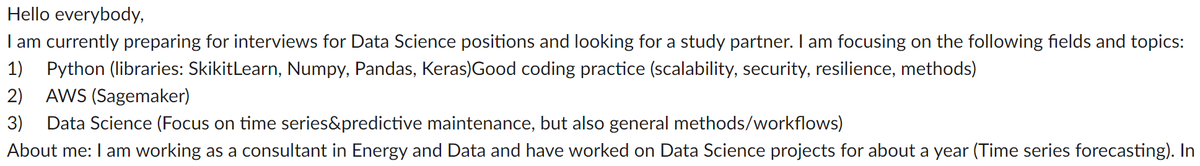 🔥 On our Slack group, one of our members is looking for a study partner to prepare #DataScience related interviews.  Feel free to reach out to paris@wimlds.org We will put you in touch with her!  #Support #Networking #StrongerTogether #WiMLDS #WiMLDSParis