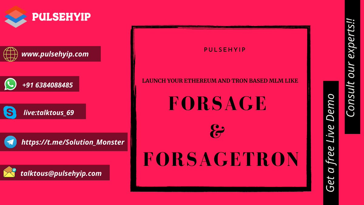 Any #Crypto #entrepreneur who would like to start a platform like #Forsage would require Forsage clone script with customizable smart contract. You can build your MLM based on either #Tron or #Ethereum network-https://t.co/srWdMEpfdv Call-916384088485 #Blockchain #ETH #Mexico #UK https://t.co/Phjbun11It