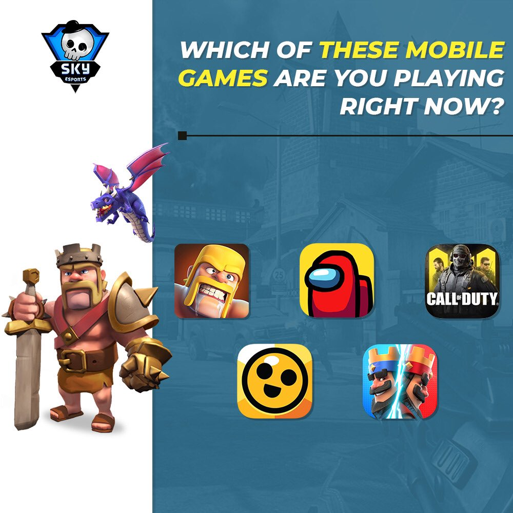 Mobile gaming has taken over a lot! Which of these games are you grinding?  #Brawlstars #ClashofClans #amongus #cod #clashroyale https://t.co/dMao31c8M5