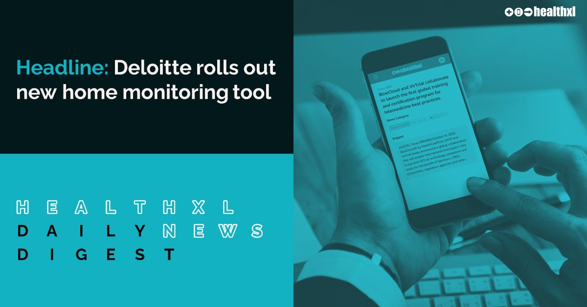 Today's top news headline from HealthXL's Daily Digest: Deloitte rolls out new home monitoring tool. Follow the link to find out more https://t.co/Lmzgy6ZPIR #MedicalNews #DigitalHealth #healthxl #Deloitte https://t.co/Dq90Kw4vgw