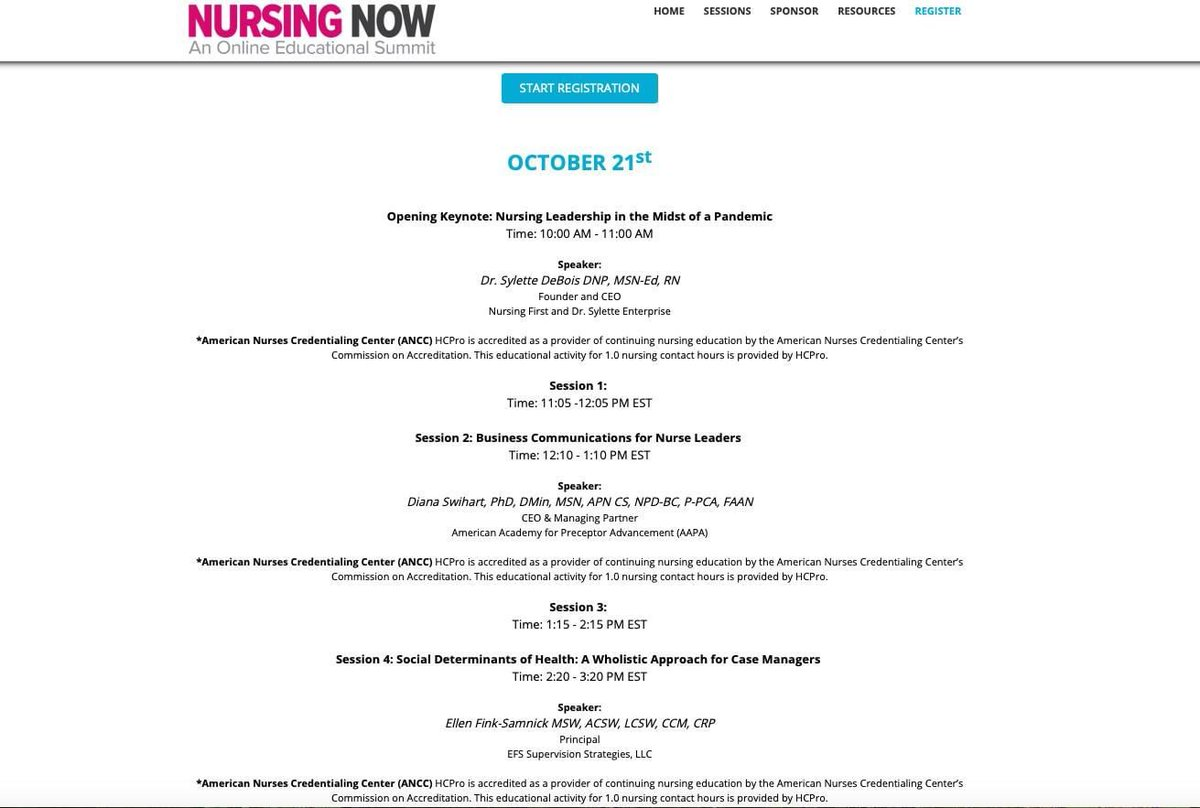 FREE CEs! Excited to join the #NursingNOW Virtual Summit lineup, 10/21! @HealthLeaders https://t.co/xKVR54Plcr #SDoH #healthdisparities @JoseAlexRN @CCM_Cert @TheACMA @HCPro_Inc @RACmonitor @ICD10monitor @ANANursingWorld @AAMCN @urbaninstitute @TheIHI @ipectr @NACHC @UOPacific https://t.co/wFDyKZPHlm