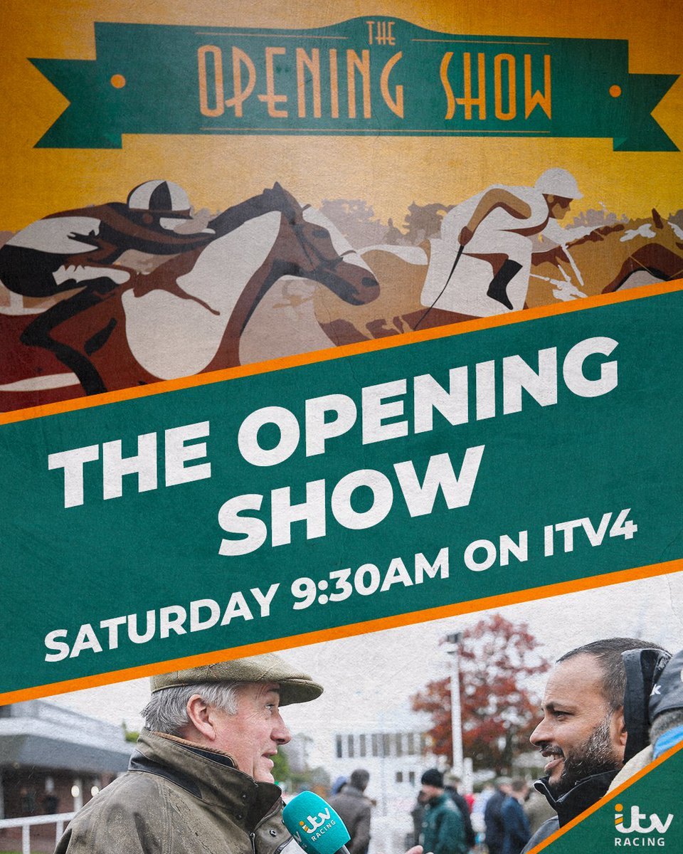 This weekend 11-time champion trainer @PFNicholls joins @RishiPersad1, @aliceplunkett, @mickfitzg and @MCYeeehaaa on The Opening Show! We look ahead to action from @CheltenhamRaces, @DoncasterRaces and @NewburyRacing 📅 Saturday ⏰ 9:30am 📺 @ITV4 #TheOpeningShow