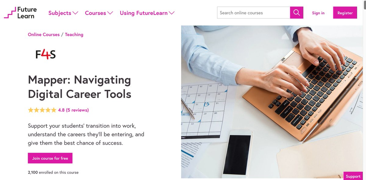 Do you use digital tools to support your career education lessons? Take a look at this free online CPD course from @FutureLearn to learn how to support your students' transition into work, understand their careers options & best chance of success. More at https://t.co/0l7awInoSs https://t.co/br92UYSCm0