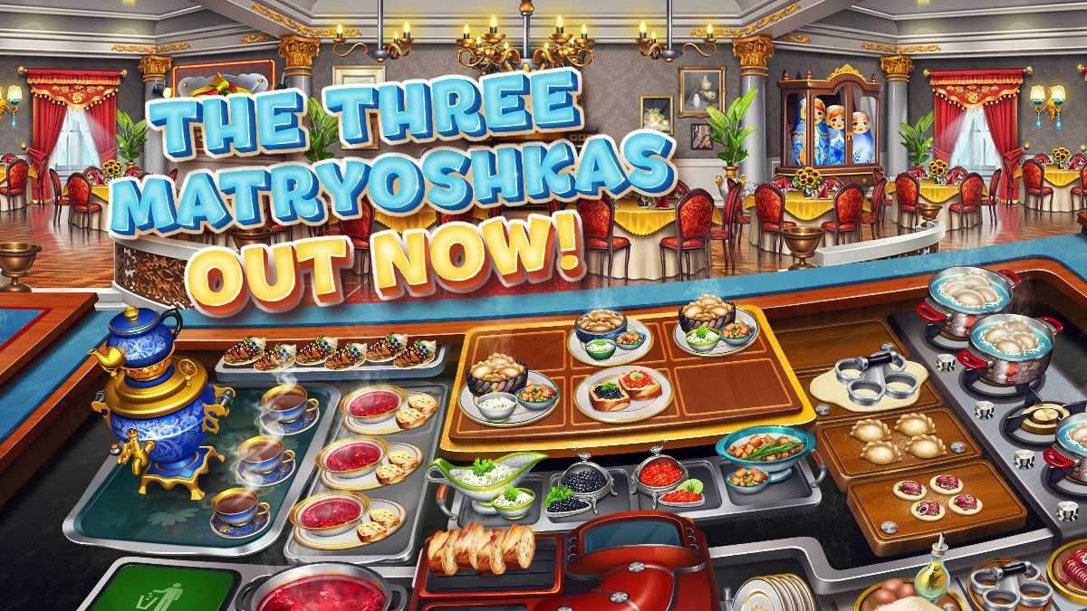 Surprise your visitors with hand-made dumplings and savory borsch - the real treat during cold, long and dark evenings! The Three Matryoshkas Restaurant is OUT NOW on Cooking Fever! https://t.co/Da1wFrAqvT https://t.co/wkgEU8pIAT