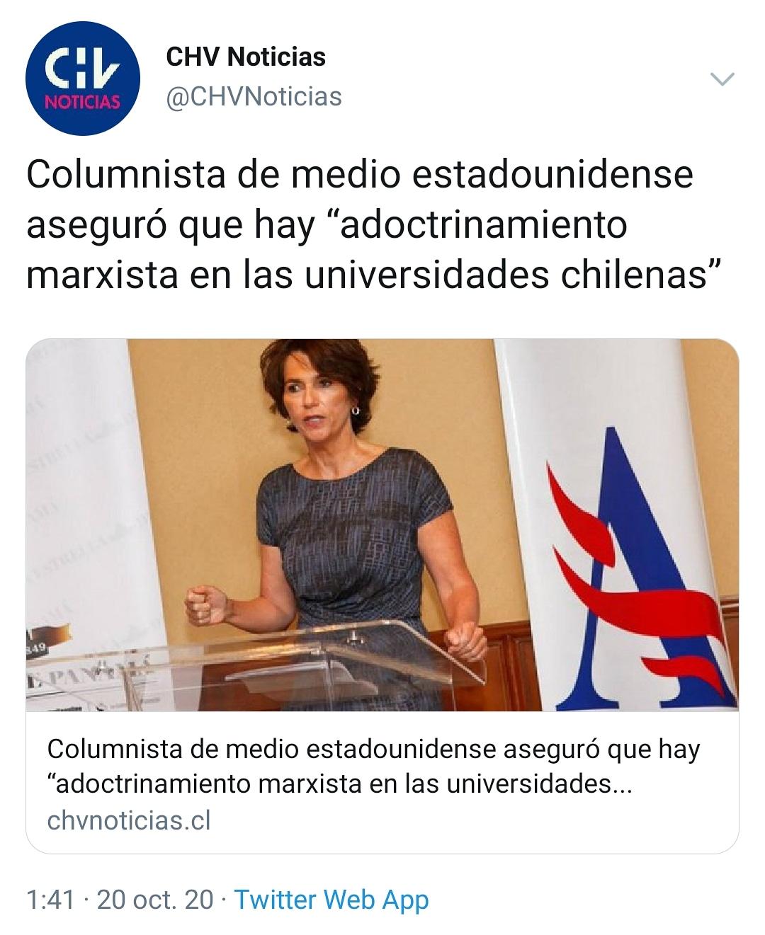 """APRA ARAUCANíA on Twitter: """"????Columnista de medio estadounidense aseguró  que hay """"adoctrinamiento marxista en las universidades chilenas""""… """""""