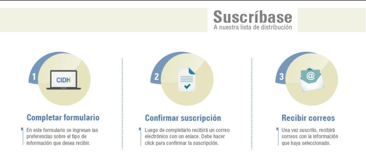 #PortalCIDH   Suscríbete al sitio electrónico en 3 pasos: ⌨️Completa el formulario sobre preferencias de información. ✔️Confirma tu suscripción. 📩 Recibe actualizaciones sobre el trabajo en observancia y defensa de los #DDHH de la #CIDH ℹ️Más info: 👉🏾 bit.ly/1ACTQW3
