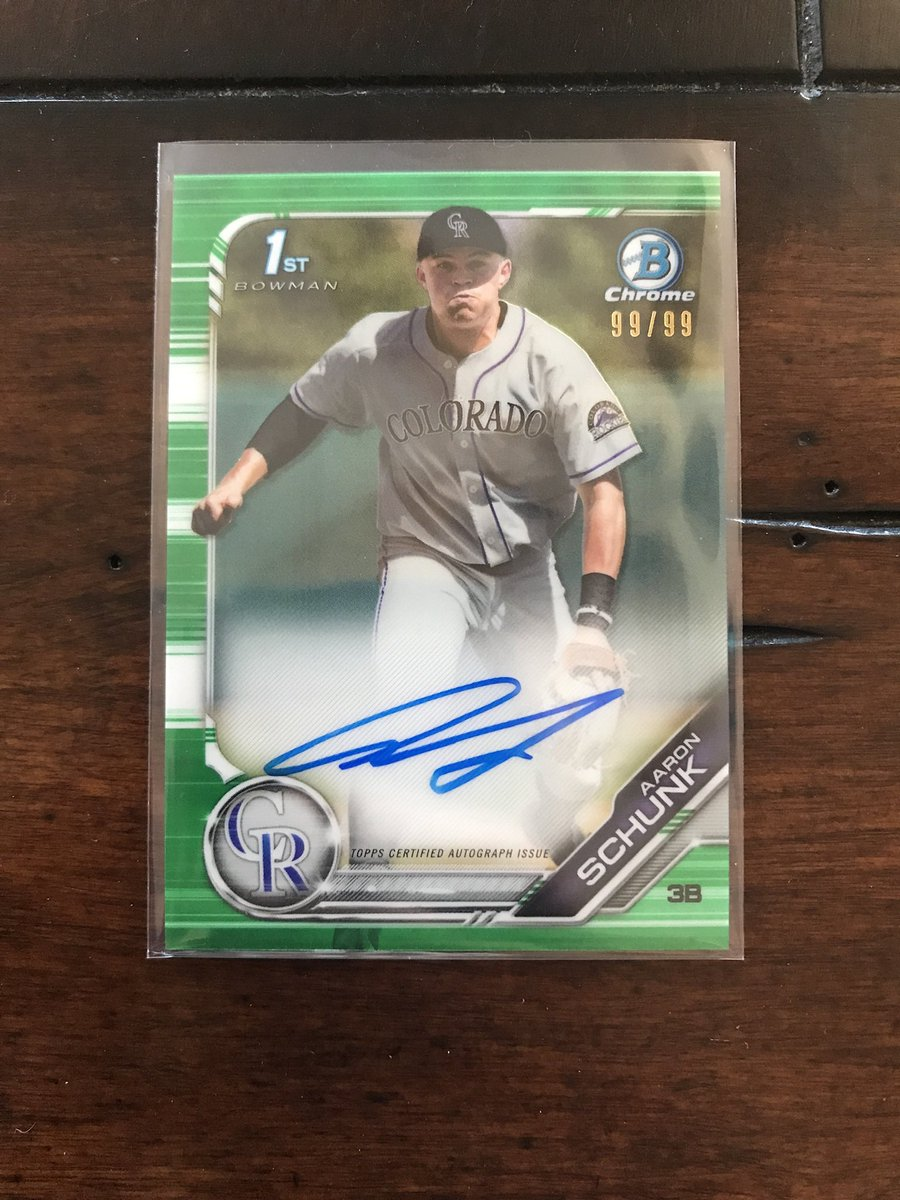 2019 Bowman Chrome Aaron Schunk Rookie Green Refractor Autograph /99! $55 shipped BMWT @HobbyConnector @OnReplin #baseballcards #Rockies @linkmycard @24_7SportsCards @collectorconn19 @mlbhobbyconnect @sports_sell @CollectTheGame @Hobby_Connect  RT's Appreciated! https://t.co/v4dCr33r50
