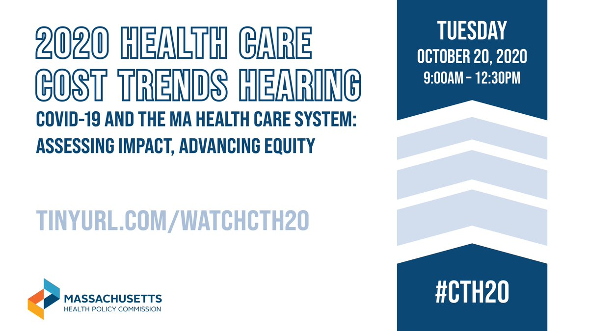 Welcome to the 2020 #HealthCare Cost Trends Hearing! Our topic this year is COVID-19 and the Massachusetts Health Care System: Assessing Impact, Advancing Equity. Use #CTH20 to join the conversation! Agenda & materials: https://t.co/Lj1H2J4Wao Livestream: https://t.co/sRqp3QHV7B https://t.co/6O6HwqjUBU