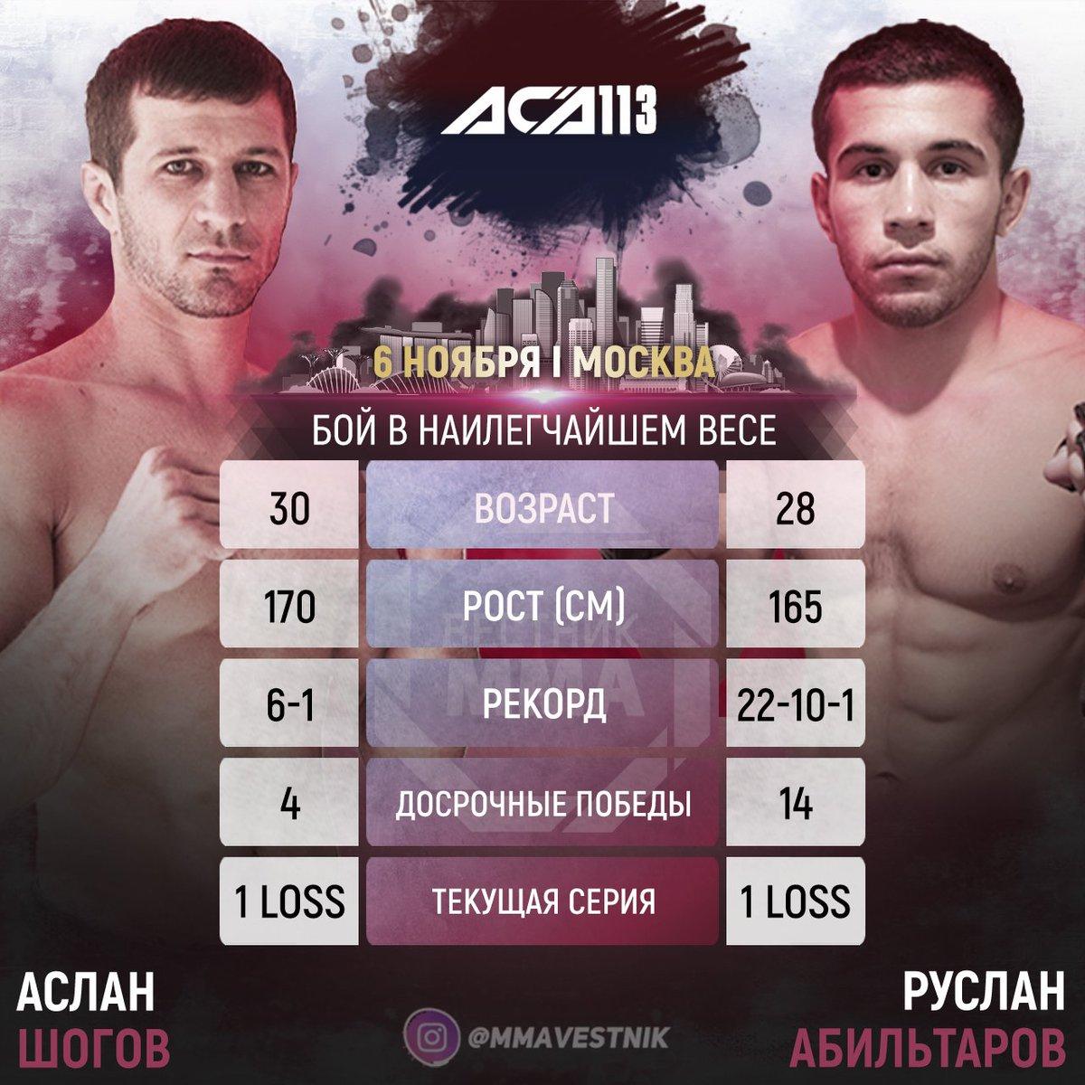 👊🏻 6 ноября Аслан Шогов (ACA 0-1) и Руслан Абильтаров (ACA 1-2) проведут бой в рамках турнира #ACA113 в Москве. https://t.co/wIl46R66pI