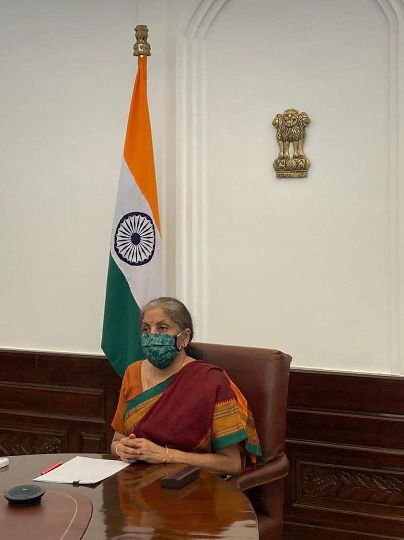 Smt @nsitharaman interacts (via VC) with a delegation led by Dr Bhaskar Chatterjee, Secretary General & Executive Head of the Indian Steel Association.