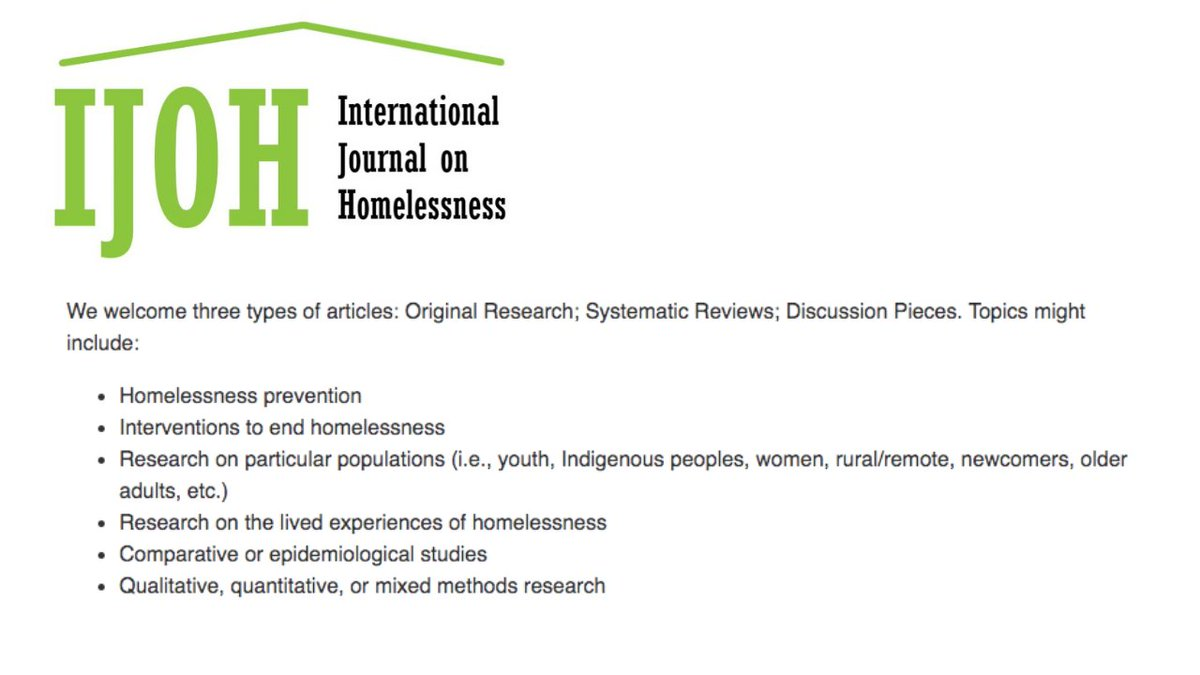 Congrats to the brilliant minds behind the International Journal on Homelessness (IJOH)! The journal will truly help advance academic communications locally/globally & across sectors on preventing & ending #homelessness. And its open-access!! ojs.lib.uwo.ca/index.php/ijoh…